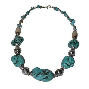 Moroccan Jewerly Berber Necklace Stone Turquoise With Silver Beads
