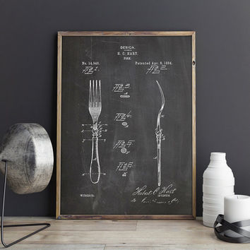 Restaurant Printable, Fork, Cutlery, Kitchenware, Fork Wall Decor,Fork Decor,Dining Room Wall Art,Dinner Wall Decor,Patent, INSTANT DOWNLOAD