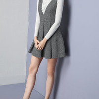 Gray Houndstooth A-line Overall Dress