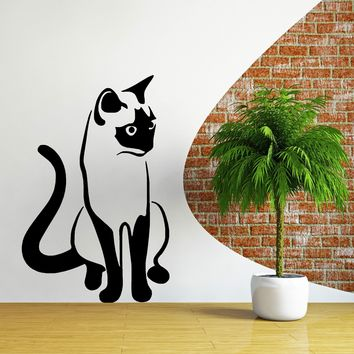 ZN G132 SIAMESE Cat Vinyl Wall Art Cartoon Sticker Decal Cute Animal Cat Wall Decorative Stickers Bedroom Poster Home Decor