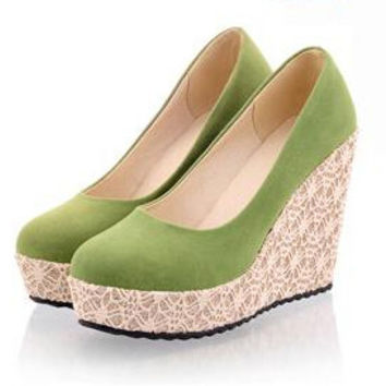 Spring Preppy Style Women's Lace Wedges Platform Shoes Suede Casual Platform Ultra High Heels Shoes Woman Office Work Shoes
