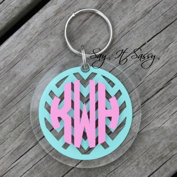 Chevron Circle Monogram Keychain Acrylic by SayItSassy on Etsy