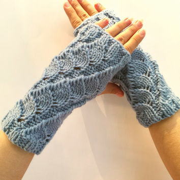 Knit blue woman's Fingerless Mittens, wrist warmers, unique pattern, stretchy and comfortable to wear.
