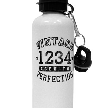 Personalized Vintage Birth Year Distressed Aluminum 600ml Water Bottle by TooLoud