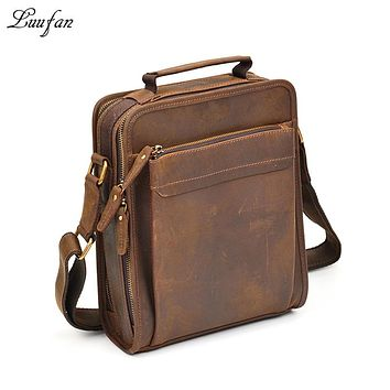 Mens Crazy horse leather shoulder bag double zipper Vintage genuine leather messenger bag iPad magazine zip around crossbody bag