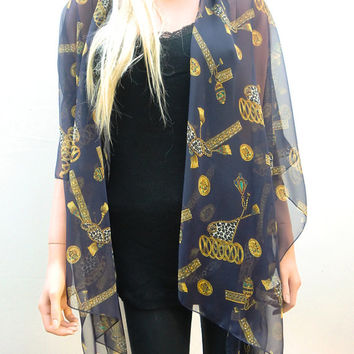 Dark Navy Kimono cardiganAntique gold yellow tassels and jewels chiffon-Layering piece-Many colors