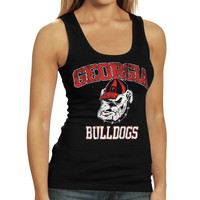 Georgia Bulldogs Women's Rib Tank Top - Black