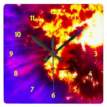 Palm Tree Sunburst Square Wall Clock