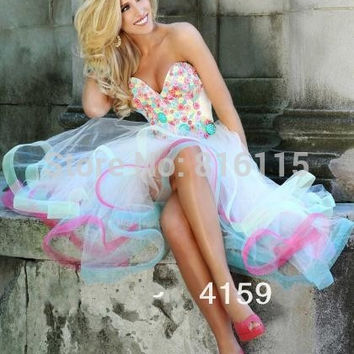new arrival sexy sweetheart high low colorful tulle rainbow prom dress corset lace up back prom gown