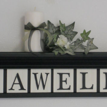 "Custom FAMILY Wall Art - NAME Signs 24"" Black Shelf with 6 Wooden Letter Tiles Painted Black Personalized for SAWELL"