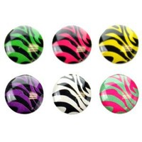 Fosmon 6 in 1 Zebra Pattern Home Button Decals for Apple iPhone 6 6Plus 5 5S 5C / iPod / iPad - Pink, Blue, Purple, Red, Yellow, White