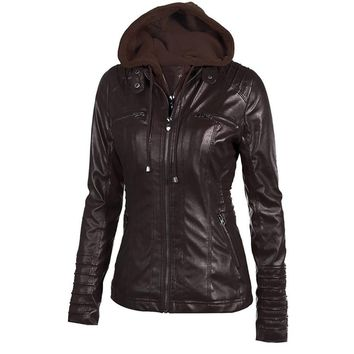 Womens Jacket Pu Leather Motorcycle Black Outerwear