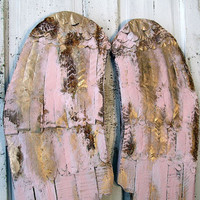 Wooden angel wings wall hanging painted pink and gold shabby cottage chic distressed wood and metal rusty wing set anita spero design