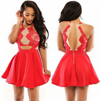Red Cutout Lace Skater Dress