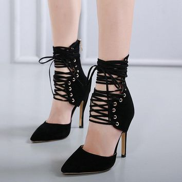 Pointed Toe Lace Up Ankle Wrap Cut Out Stiletto High Heels