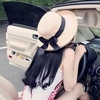 1Pcs Summer New Women's Sun Hat Black Bowknot Ribbon Flanging Straw Hat Beach Caps Head Circumference 56-58 cm 3 Colors 6113
