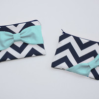 Cosmetic Case / Zipper Pouch / Makeup Bag - Navy and White Chevron Aqua Bow - Choice of Bow Style