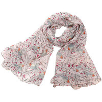 Pink Bird Print Scarf Shawl Cape