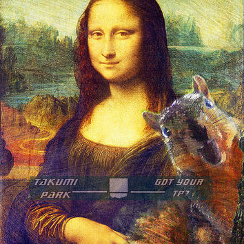 Squirrel photo bomb of Mona Lisa, artprint, homedecor, wall poster art animal art, squirrel decor, funny art, kawaii woodland animal artwork