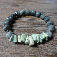 Gray Hawks Eye and Green Variscite Beaded Bracelet