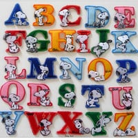 Cartoon Alphabet Letters with Various Snoopy Iron on Patch 36-H