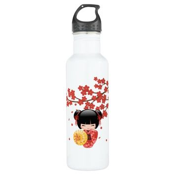 Red Sakura Kokeshi Doll - Cute Japanese Geisha Water Bottle