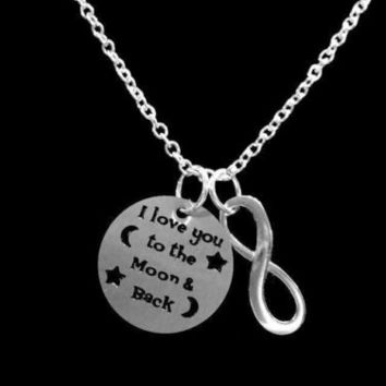 Infinity I Love You To The Moon And Back Best Friends BFF Husband Wife Necklace