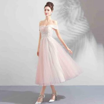 Off Collar Backless Flower Tulle Prom Gown Elegant Simple Lace Up  Dresses Party