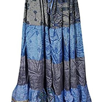 Mogul Womens Long Maxi Skirt Vintage Recycled Sari Full Flare Belly Dance Tiered Skirts