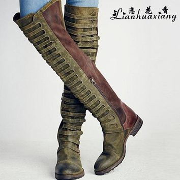 Lianhuaxiang 2017 New Fashion Women Suede Low Heels Over The Knee Sexy Round Toe Spring  Winter Boots Motorcycle Boots 7N0120