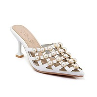 Pointed Toe Pearls Slides Sandals Summer Shoes 5555