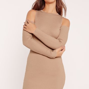 Missguided - Cold Shoulder Ribbed Knitted Mini Dress Camel