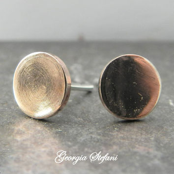 6mm Tiny Copper Sterling Silver Circle Stud Earrings Mothers Day Gift Small Simple Po