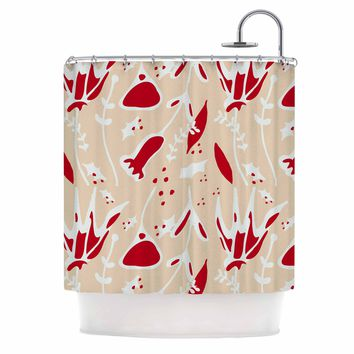 "bruxamagica ""Winter Floral Ivory"" Beige Red Floral Holiday Illustration Shower Curtain"