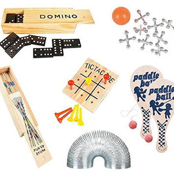 Wish Novelty Classic Games (Set of 6) Fun Party Vintage Games for Kids & Family - Includes Tic-Tac-Toe 2 Paddleballs Domino Jacks Pick-up Sticks Coil Spring- Travel Compact Size - Best Retro Gift '