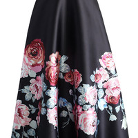 Blossoming Black High Waist Maxi Skirt