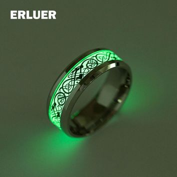2017 Dragon ring Stainless Steel Luminous Rings Glow In The Dark Fluoresce dragon tattoo ring for women men Silver jewelry Anel
