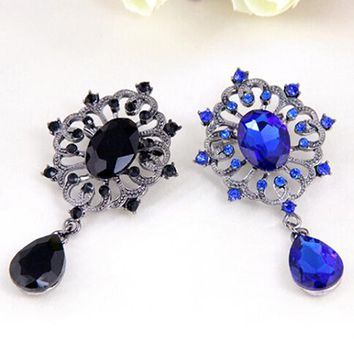 Bluelans Women's Luxury Rhinestone Alloy Brooch Pin Large Waterdrop Pendent Party Jewelry
