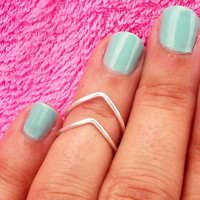 2 Chevron Above The Knuckle Ring - Silver Chevron Knuckle Rings - Set of 3 by Tiny Box -
