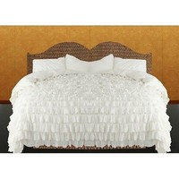 ROYAL BEDDING SET  Waterfall Ruffle 3 PCS Duvet Cover Set  Cotton  White SOLID