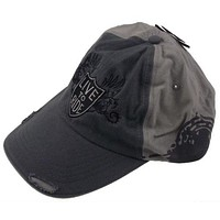 Rolling Steel Thunder Live To Ride Adult Biker Cap Gray Distressed Embroidered