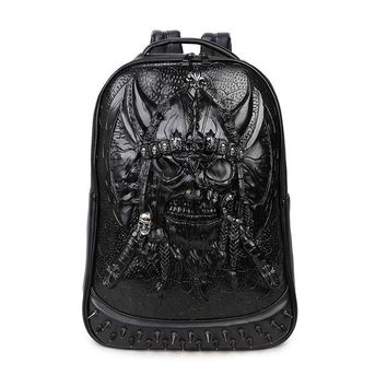 Cool Backpack school 2017 Fashion Men And Women 3D Skull Backpack Gothic Punk Rock Animal Printed Shoulder Bags Mens Cool Casual Computer Backpack AT_52_3