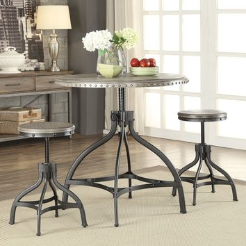 fatima 3 piece adjustable counter height dining set with stools gray oak finish/metal