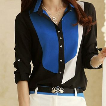 Streetstyle  Casual Color Block Roll-Up Sleeve Blouse