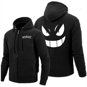 Poke mon Gengar Haunter Zipper Hoodies Pullover Monster hoodie Anime Gengar Hooded Thick Zipper Men cardigan Sweatshirts Tops