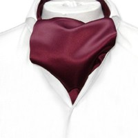 Vesuvio Napoli ASCOT Solid BURGUNDY Color Cravat Men's Neck Tie
