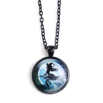Halloween Necklace Flying Witch Under the Moon Black Chain
