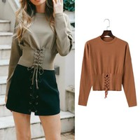 Pullover Knit Tops Slim Women's Fashion Sweater [31068028954]