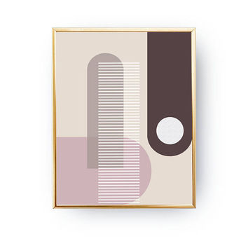 Pink Brown Pastel Art, Pastel Decor, Geometric Poster, Minimalist Poster, Geometric Textures, Abstract Shapes, Watercolor Print, Simple Art