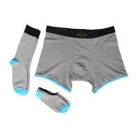 RLTD | The Dillion - Heather Grey And Black Matching Boxer Briefs, Socks And No-Show Socks